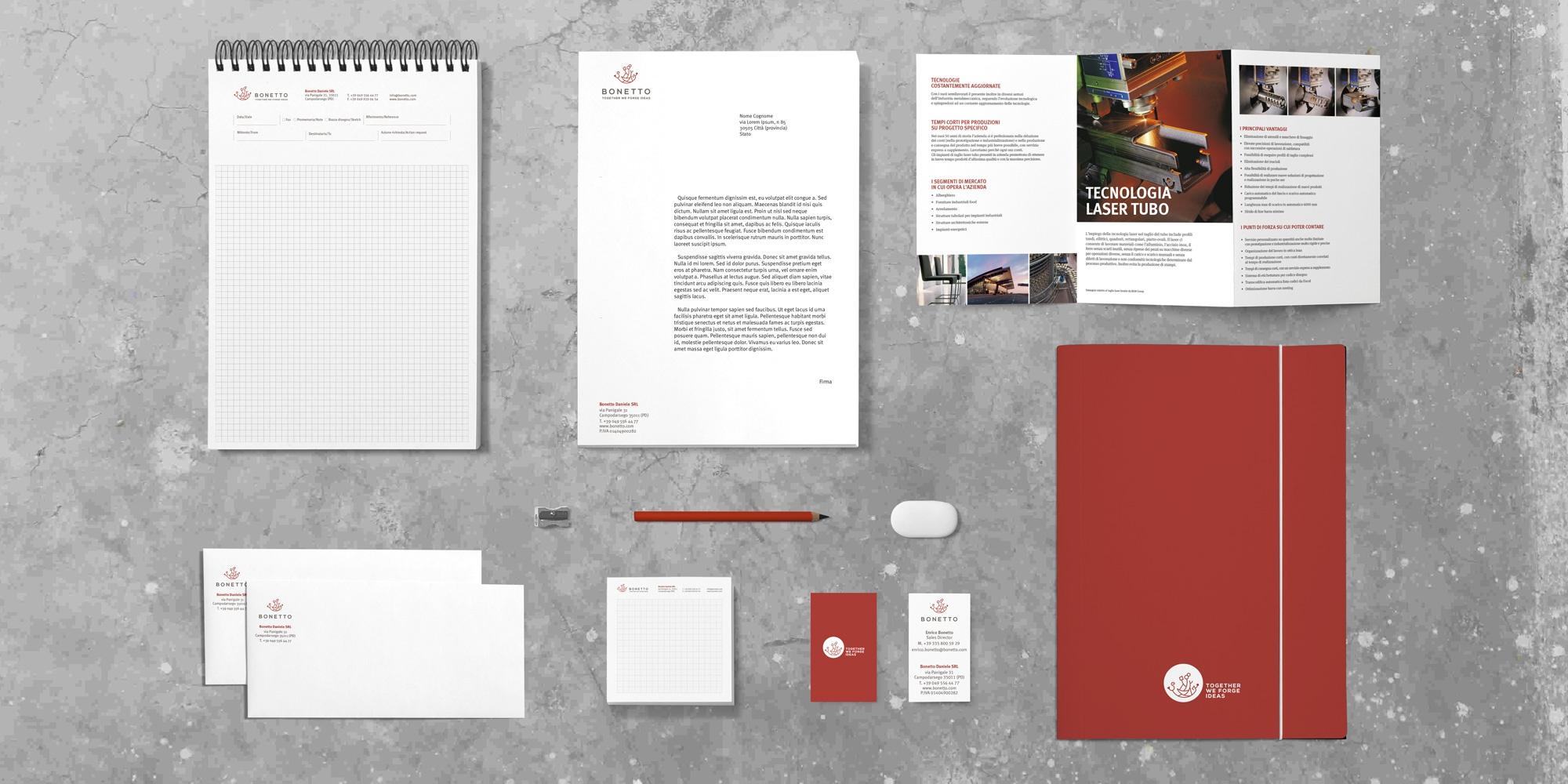 Esempio della modulistica aziendale e dell'immagine coordinata realizzata per Bonetto